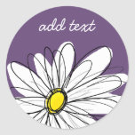 Purple and Yellow Whimsical Daisy Custom Text Classic Round Sticker