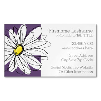 Purple and Yellow Whimsical Daisy Custom Text Magnetic Business Cards (Pack Of 25)