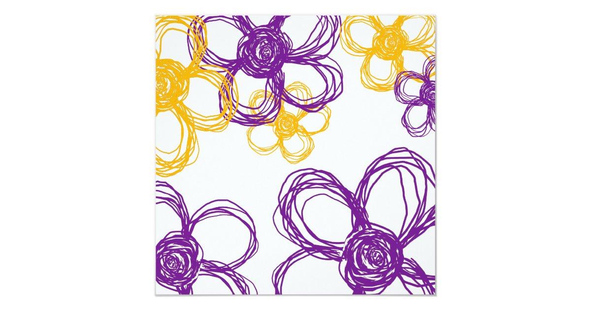 Purple And Yellow Wild Flowers Wedding Invitation