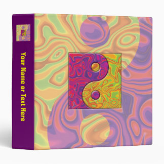 Purple and Yellow Yin Yang Symbol 3 Ring Binder