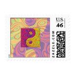 Purple and Yellow Yin Yang Symbol Postage