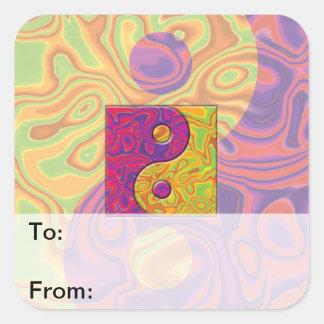 Purple and Yellow Yin Yang Symbol Square Sticker