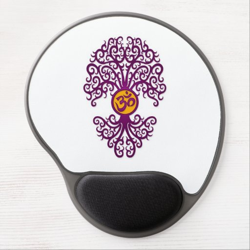 Purple and Yellow Yoga Om Tree on White Gel Mousepads