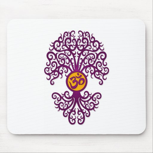 Purple and Yellow Yoga Om Tree on White Mousepads