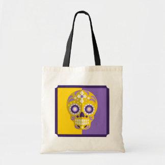 Purple and Yelow Gold Sugar Skull Tote Bag