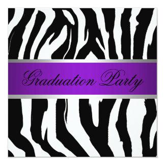 Purple and Zebra Graduation Party Card
