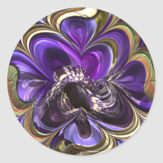 Purple Anemone Abstract Classic Round Sticker