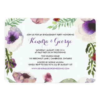 Purple Anemone Floral Engagement Party Invitation