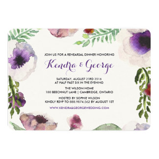 Purple Anemone Floral Rehearsal Dinner Invitation