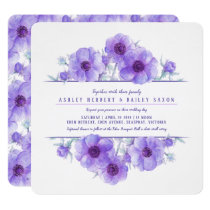 Purple anemone floral watercolor wedding invites