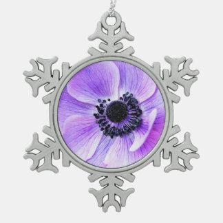 Purple anemone flower snowflake pewter christmas ornament