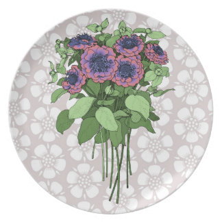 Purple Anenomes Dinner Plate
