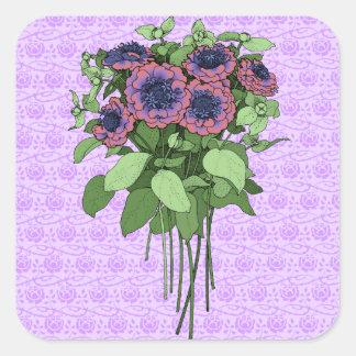 Purple Anenomes Square Sticker