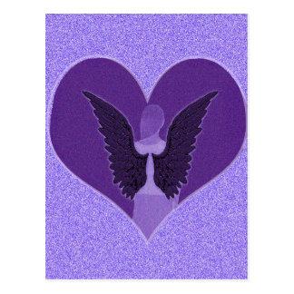 Purple Angel and Heart Postcard