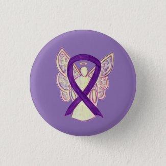 Purple Angel Awareness Ribbon Custom Art Pins