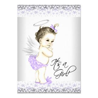 Purple Angel Baby Shower Invitations
