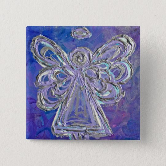 Purple Angel Button Pin