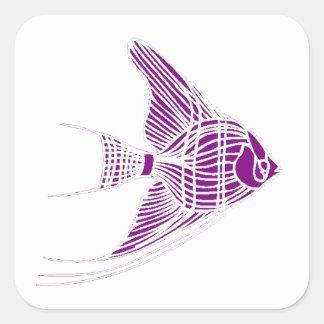 Purple Angel Fish Square Stickers