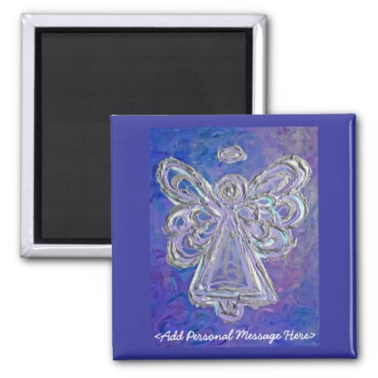 Purple Angel Magnet with Customized Message