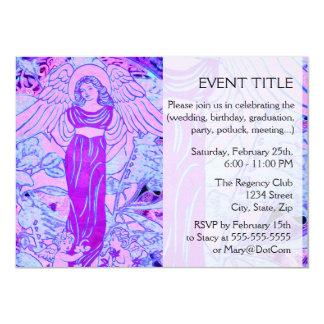 Purple Angel Pattern with Flowers Card