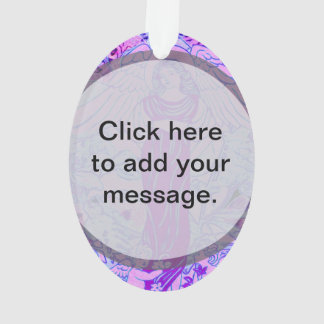Purple angel pattern with flowers ornament