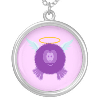 Purple Angel Pom Pom Pal Necklace