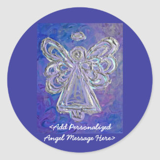 Purple Angel Wings Stickers with Custom Messages