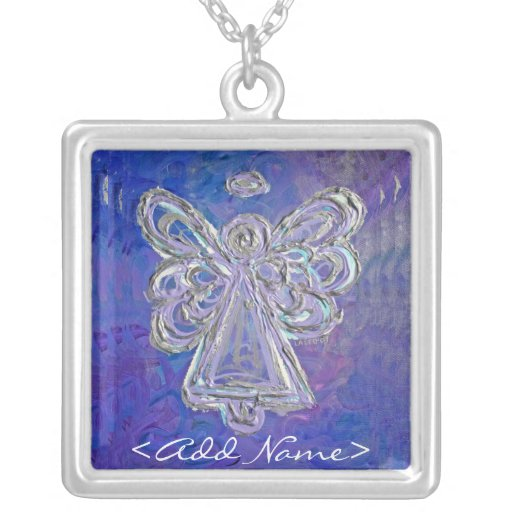 Purple Angel with Personal Name Option Custom Necklace