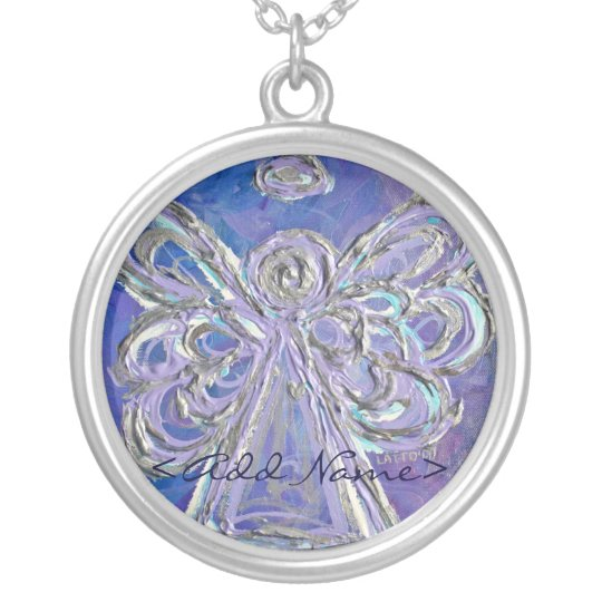 Purple Angel with Personal Name Option Silver Plated Necklace
