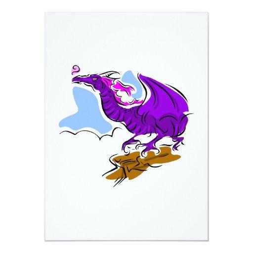Purple Angry Dragon 5x7 Paper Invitation Card