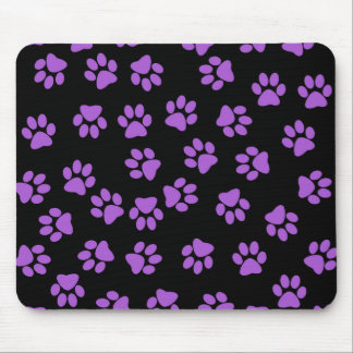 Purple Animal Footprints Mouse Pad