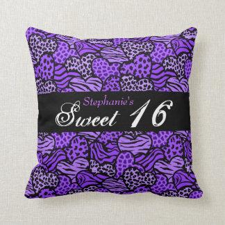 Purple animal pattern hearts Sweet Sixteen Pillow