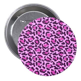 Purple animal print 3 inch round button