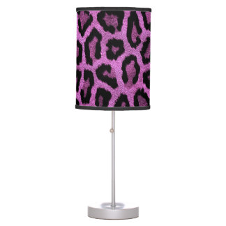 Purple animal print design table lamp