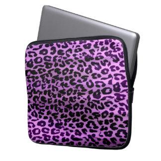 Purple animal print fur of leopard laptop sleeve