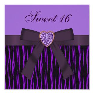 Purple Animal Print & Heart Jewel Sweet 16 Invites