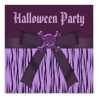 Purple Animal Print & Skulls Halloween Party Invitation