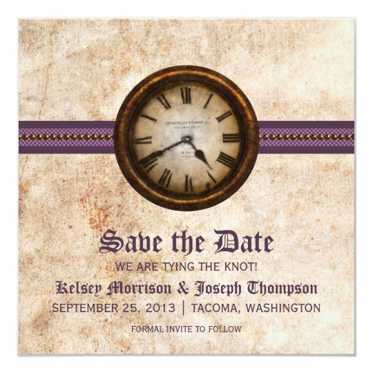 Purple Antique Clock Save the Date Announcement