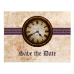 Purple Antique Clock Save the Date Postcard