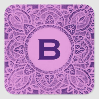 Purple Antique Lace Monogram B or any Letter Square Sticker