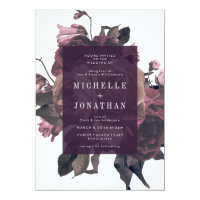 Purple Antique Roses Vintage Wedding Invitation