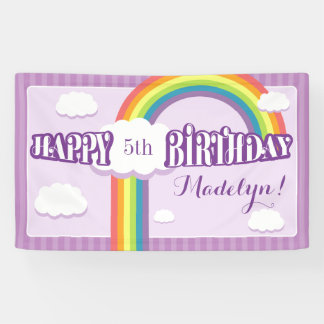 Purple Any Age Rainbow Cloud Birthday Banner