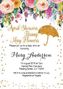 Purple April Showers Baby Shower Invitation