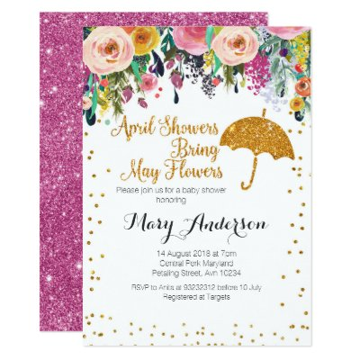 April showers baby shower invitation gold pink zazzle filmwisefo