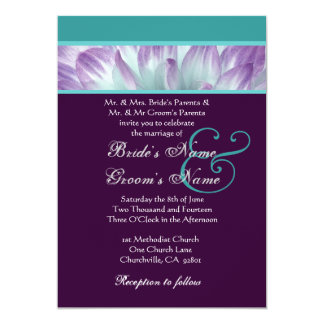 Purple Aqua Blue Dahlia Petals Wedding Recycled Card