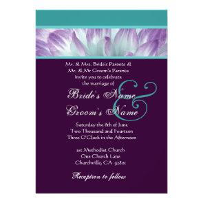 Purple Aqua Blue Dahlia Petals Wedding Recycled Personalized Announcements