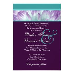 Purple Aqua Blue Dahlia Petals Wedding Recycled 5x7 Paper Invitation Card
