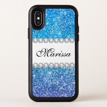 Bride Themed Purple Aqua Blue Glitter Ombre White OtterBox Symmetry iPhone X Case