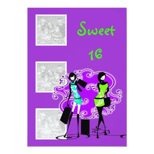 Purple aqua elegant sweet sixteen 5x7 paper invitation card