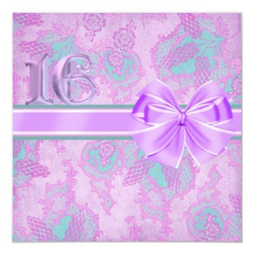 Purple & Aqua Floral & Bow Birthday Invitation